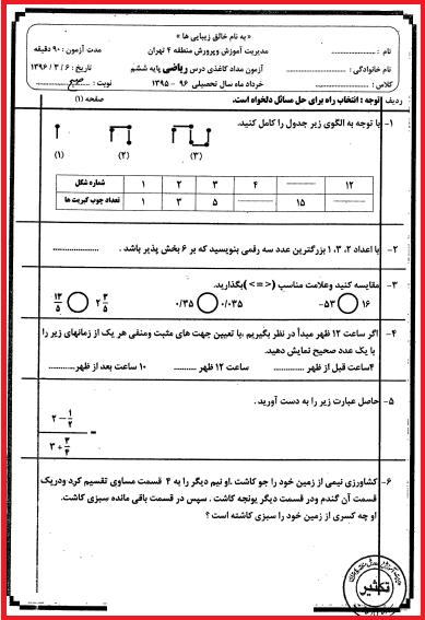 نمونه سوالات نهایی ریاضی ششم منطقه ۴ با پاسخ تشریحی